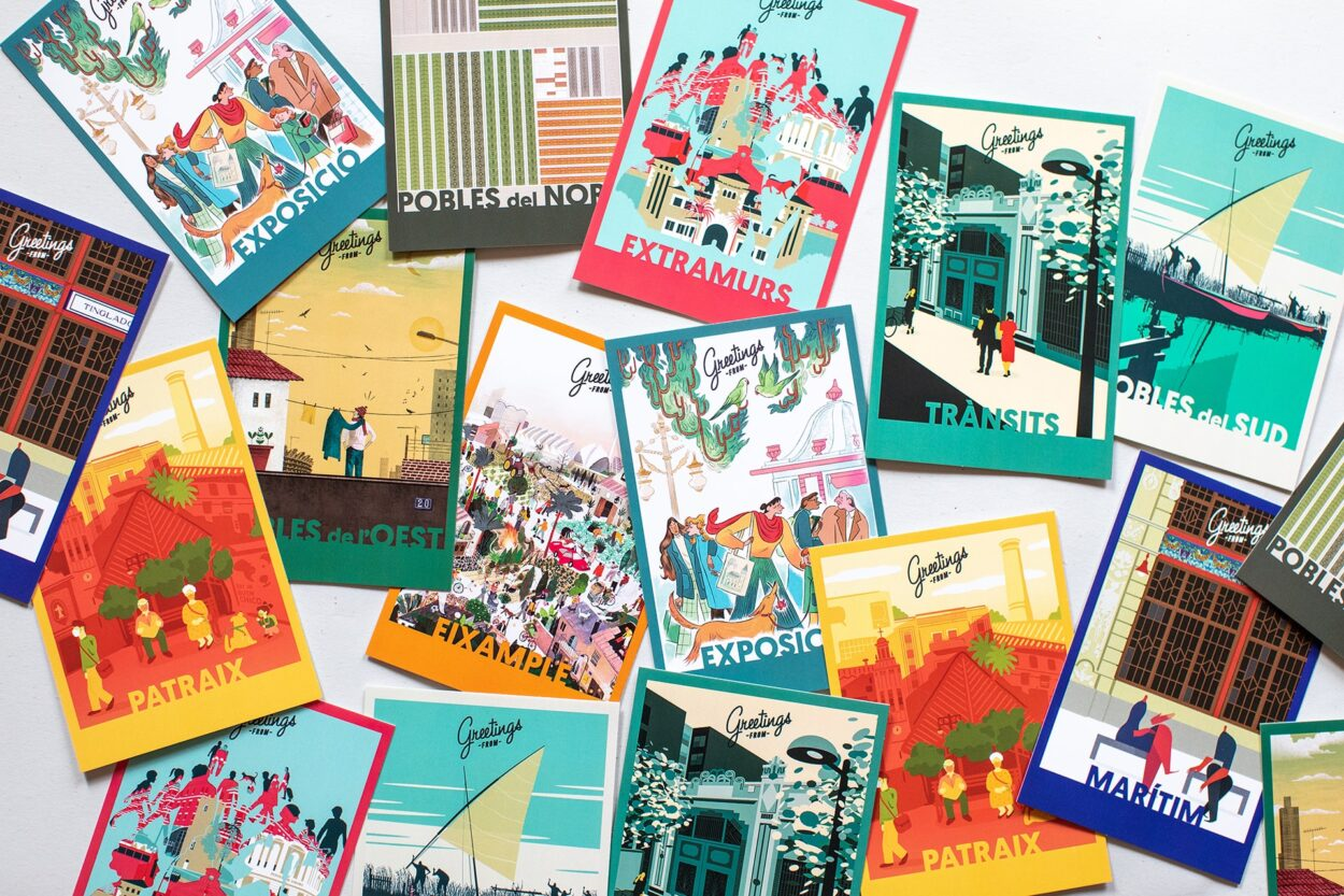 """Ilustración del distrito Tránsitos para el proyecto """"Greetings from"""". 'Greetings From' es un homenaje a nuestra ciudad en forma de diez postales que, bajo las miradas diferentes de diez ilustradores e ilustradoras, reflejan una Valencia diversa y llena de vida. Una idea original de @virginialorenteillustration Impulsada por Valencia Capital Mundial del Diseño 2022 y Visit Valencia – España., Y que cuenta con el apoyo de la APIV Asociación de Profesionales de la Ilustración Valenciana. @ valenciaworlddesigncapital2022 @visit_valencia @apivalencia"""